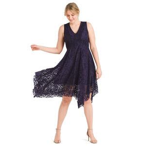 New Taylor V-neck Navy dress lace handkerchief 6